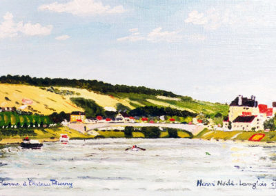 The Marne river at Chateau Thierry, 33x19cm