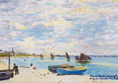 Reproduction: The beach of St Adresse, Claude Monet 26x18cm